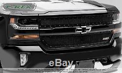 2pc Blk X-metal Mesh Grille Grill T-rex Fits 2016-2018 Chevy Silverado 1500 Z71