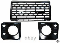 3pc Gloss Black Adventure style front end grille kit for LandRover Defender G4