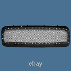 99-04 Ford F250 F350 Excursion 00-04 Mesh Rivet Stud Grille Gloss Black Bolt On