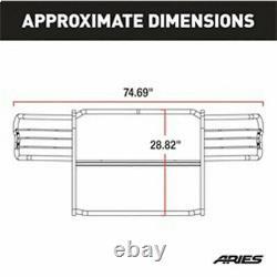 Aries 1.5 Grille Guard Kit Carbon Steel SemiGloss BLK for Ram Dakota 05-11