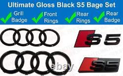 Audi S5 Gloss Black Badge Rings Grille Boot Kit Badge Emblem Set glossy blk