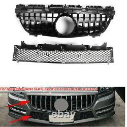 BLK Front Upper+Lower Radiator Grille Grill For Benz R172 SLK 200 250 350 12-16