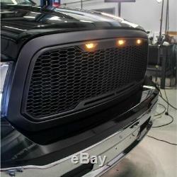 Black 13-18 Dodge Ram 2500 3500 Raptor Style Grille Led Lighting Matte Mesh Bolt