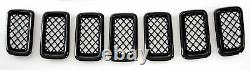 Black Horse 2011-2017 Jeep Compass Overlay Grille Trims Gloss Black