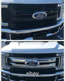Black Horse 2017-2019 Ford F-450 Overlay Grille Trims Gloss Black