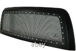 Black Rivet Stainless Steel Grille For 13-18 Dodge Ram 2500 3500 Matte Black