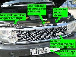 Black Supercharged conversion grille for Range Rover L322 03-05 Vogue grill