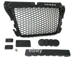 Black honeycomb mesh grill compatible with Audi A3 8P3 2008-2013 S3 RS style