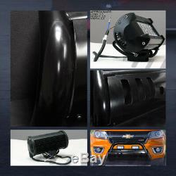 Blk Bull Bar Push Bumper Guard Frc+36W CREE LED Lights For 15-19 Colorado/Canyon