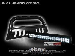 Blk Hd Bull Bar Bumper Grille Guard+120W CREE LED Light For 99-04 Ford F250/F350