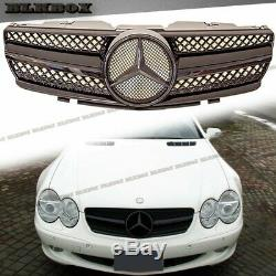 Bright Gloss Black Style Front Fence Grille Fit For 02-06 R230 SL500 SL600 Model