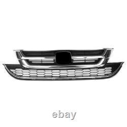 Chrome Front Bumper Upper + Lower Grill Grille For Honda CRV CR-V 2010 2011 BLK