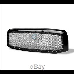 Fit 02-05 Dodge Ram Glossy Blk Rivet Bolt Steel Mesh Front Bumper Grille withShell