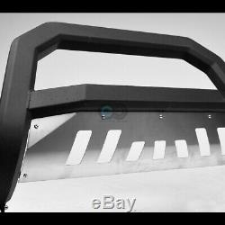 Fit 02-09 GMC Envoy Denali Matte Blk/Skid AVT Bull Bar Brush Bumper Grille Guard