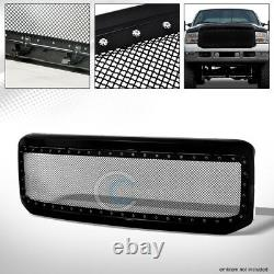 Fit 05-07 Ford F250/F350 Superduty Blk Rivet Steel Wire Mesh Front Bumper Grille