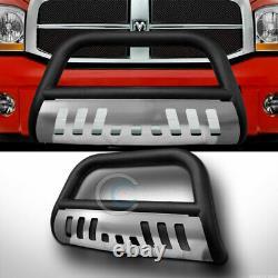 Fit 06-08/09 Dodge Ram Matte Blk/SS Skid Bull Bar Brush Push Bumper Grille Guard