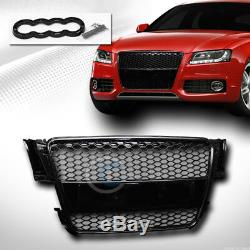 Fit 08-12 Audi A5/S5 B8/8T Glossy Blk RS-Honeycomb Mesh Front Hood Bumper Grille