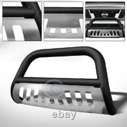 Fit 08-12 Nissan Pathfinder Matte Blk/SS Skid Bull Bar Brush Bumper Grille Guard