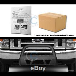 Fit 08-14 Ford E150/E250/E350 Matte Blk Studded Mesh Bull Bar Bumper Grill Guard