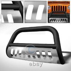 Fit 10-18 Jeep Wrangler JK Matte Blk/Skid Bull Bar Brush Push Bumper Grill Guard