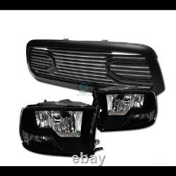 Fit 13-18 Dodge Ram 1500 Blk Dual Lamp Headlights nb+Matte Big Horn Style Grille