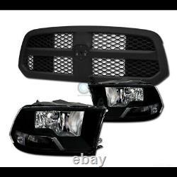Fit 13-18 Ram 1500 Blk Dual Lamp Headlights nb+Matte Honeycomb Mesh Front Grille