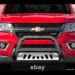 Fit 97-00 Chevy/GMC C10 C/K Matte Blk/Skid AVT Bull Bar Push Bumper Grille Guard
