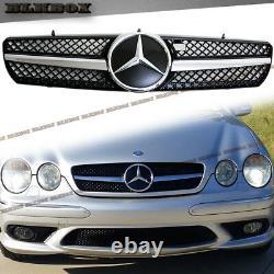 Fit BENZ 00-06 W215 CL-Coupe Front Bumper Grille Chrome Gloss Black B-DSL Look