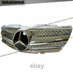 Fit BENZ 03-06 R230 SL-Convertible 2-DR Front Bumper Grille D-Black Chrome Look