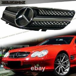 Fit BENZ 03-06 R230 SL-Convertible Front Bumper Grille Chrome/ Shiny Black Look
