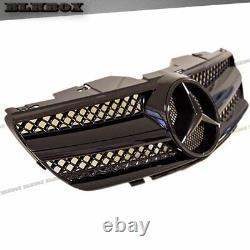 Fit BENZ 03-06 R230 SL-Convertible Front Bumper Grille Set Jet Shiny Black Look