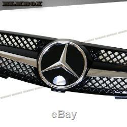 Fit BENZ 03-09 W209 CLK-Coupe Front Bumper Grille- BLK-D Chrome Gloss Black Look