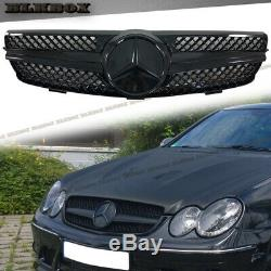 Fit BENZ 03-09 W209 CLK-Coupe Front Bumper Grille- BLK-D Fully Gloss Black Look