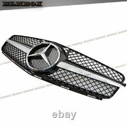 Fit BENZ 08-14 W204 C-Sedan Front Bumper Grille Set-Chrome Gloss Black B-SL Look