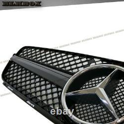 Fit BENZ 08-14 W204 C-Sedan Front Bumper Replace Grille Set- Shiny Black SL Look