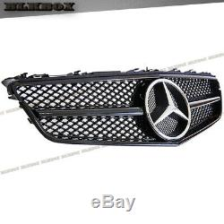 Fit BENZ 10-13 W207 E-COUPE Front Bumper Grille Shiny Gloss Black BLK-C Look