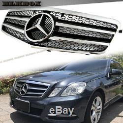 Fit BENZ 10-13 W212 E-Sedan Front Bumper Grille- BLK-C Chrome Gloss Black Look