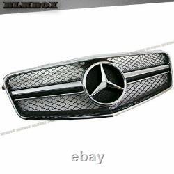 Fit BENZ 10-13 W212 E-Sedan Front Bumper Grille- Chrome w Shiny Black BLK2 Look