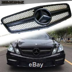 Fit BENZ 10-13 W212 E-Sedan Front Bumper Grille Cover Full Matte Black BLK2 Look
