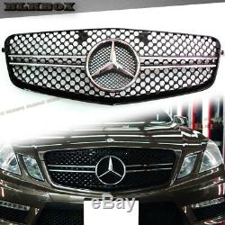 Fit BENZ 10-13 W212 E-Sedan Front Bumper Replace Grille-2 Fins Chrome/Black Look