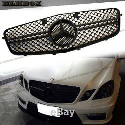 Fit BENZ 10-13 W212 E-Sedan Front Bumper Replace Grille- 2 Fins Matte Black Look