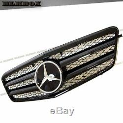 Fit BENZ 10-13 W212 E-Sedan Front Bumper Replaced Grille-BLK-D1 Gloss Black Look