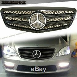 Fit BENZ 10-13 W221 S-Sedan Front Bumper Replaced Grille- Shiny Black C-2 Look