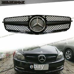 Fit BENZ 12-15 C204 C-Coupe Front Bumper Replace Grille Set- Shiny Black SL Look