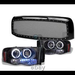 Fits 02-05 Dodge Ram Blk Halo LED Projector Headlights Am+Rivet Bolt Mesh Grille