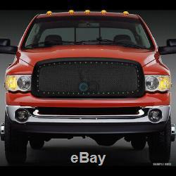 Fits 02-05 Dodge Ram Matte Blk Rivet Bolt Steel Mesh Front Bumper Grille withShell