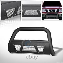 Fits 05-15 Nissan Xterra/Pathfinder Matte Blk Studded Mesh Bull Bar Grille Guard
