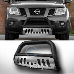 Fits 05-19 Nissan Frontier/Xterra Matte Blk/SS Skid Bull Bar Bumper Grille Guard
