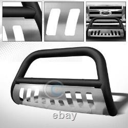 Fits 08-14 Ford Econoline E150/E250/E350 Matte Blk/SS Skid Bull Bar Grille Guard