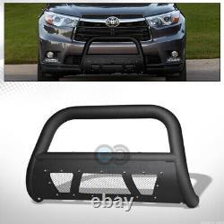 Fits 14-19 Toyota Highlander Matte Blk Studded Mesh Bull Bar Bumper Grille Guard